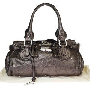CHLOE Logos Paddington Shoulder Bag Leather Bronze